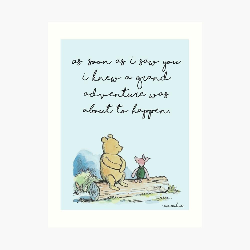 Klassische Winnie The Pooh BEDRUCKBAR, Sobald ich dich sah, wusste ich, dass ein großes Abenteuer passieren würde, Kids Wall Art, Boys Nursery Decor Blue Kunstdruck