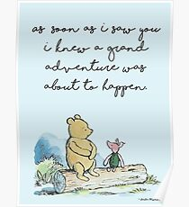 Classic Winnie The Pooh PRINTABLE, As soon as I saw you I knew a grand adventure was about to happen, Kids Wall Art, Boys Nursery Decor Blue Poster