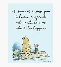 Classic Winnie The Pooh PRINTABLE, As soon as I saw you I knew a grand adventure was about to happen, Kids Wall Art, Boys Nursery Decor Blue Photographic Print