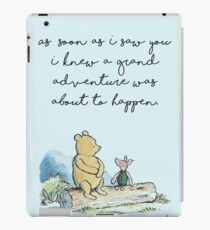 Classic Winnie The Pooh PRINTABLE, As soon as I saw you I knew a grand adventure was about to happen, Kids Wall Art, Boys Nursery Decor Blue iPad Case/Skin