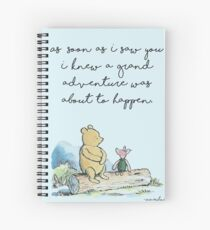 Classique Winnie l'ourson IMPRIMABLE, dès que je vous ai vu je savais qu'une grande aventure était sur le point de se produire, Kids Wall Art, Boys Nursery Decor Blue Cahier à spirale