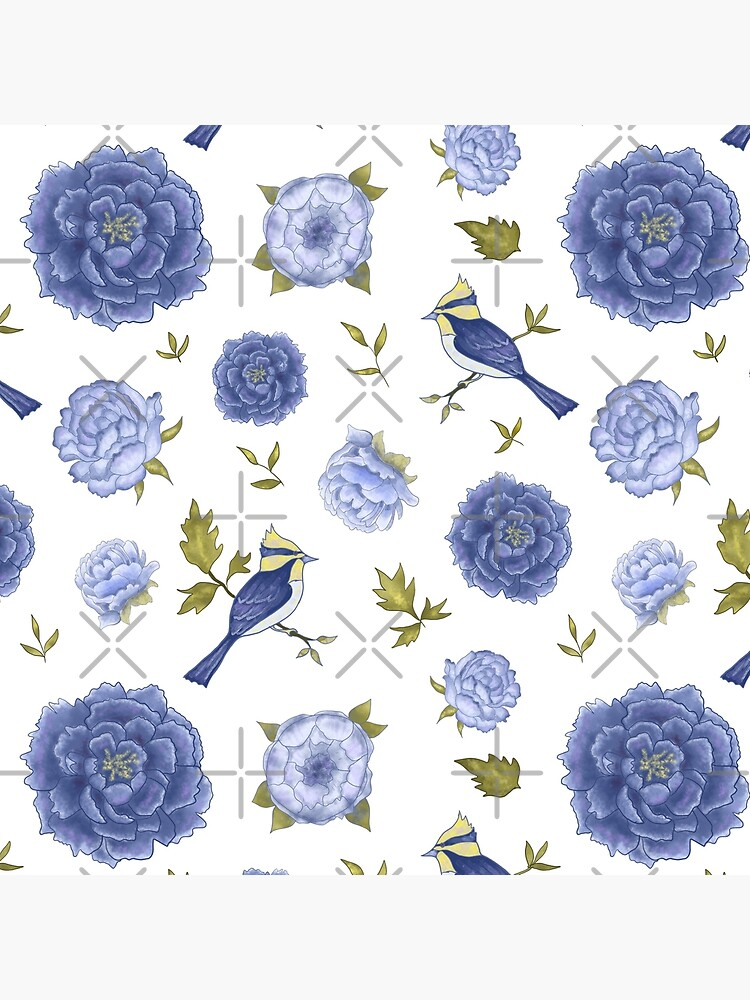 Birds and blue peonies art nouveau design by andreeadumez