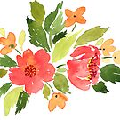 Watercolor bouquet of red camellias by Foxeye Daisy