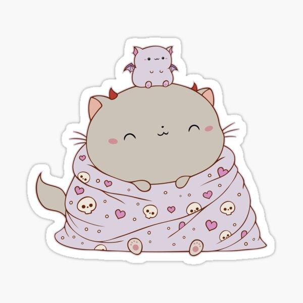Diable chat dans une petite couverture confortable Sticker