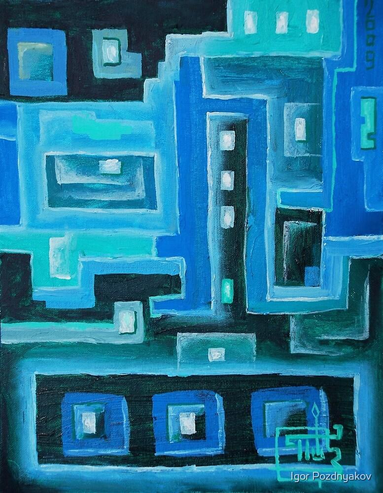 Oil Painting - Abstract IX - Printed Circuits 2009 by Igor Pozdnyakov