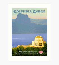 Vintage Columbia Gorge Travel Poster Art Print