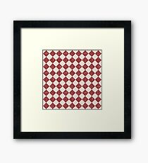 Farmhouse Checkerboard in brick red and cream Framed Print