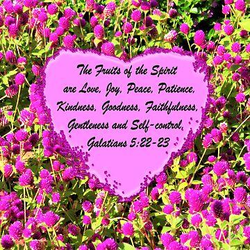 LOVELY PINK FLORAL FRUITS OF THE SPIRIT PHOTO DESIGN by JLPOriginals