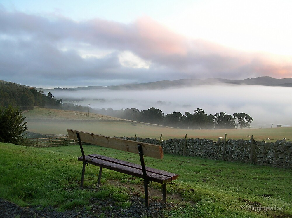 misty bench view by dinghysailor1