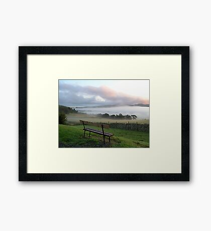 misty bench view Framed Print