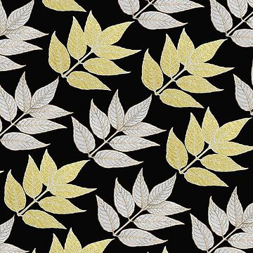 Silver & Gold Leaves On Black by ImageMonkey