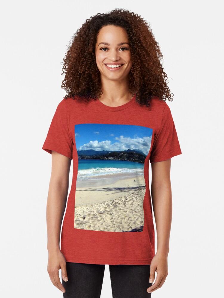 Alternate view of Grand Anse Beach, Grenada. Tri-blend T-Shirt