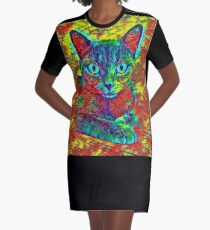 CAT COLORFUL T-Shirt Kleid