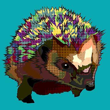 Punk Hedgehog Pop Art Inspired by BeeFoxTree