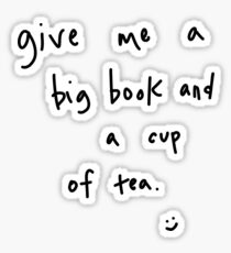 big book & cup of tea Sticker