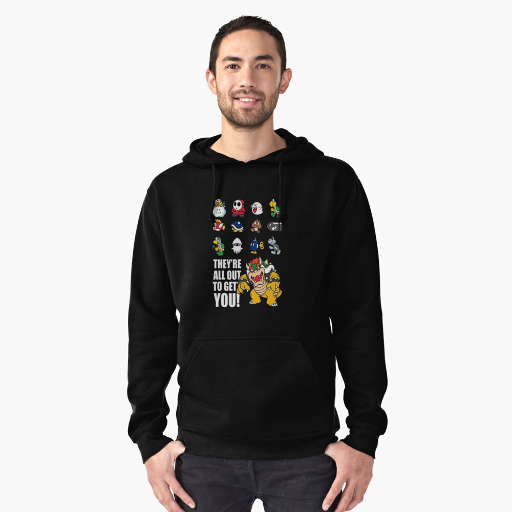 """""""They're All Out To Get You!"""" Mario Characters Design Pullover Hoodie Front"""