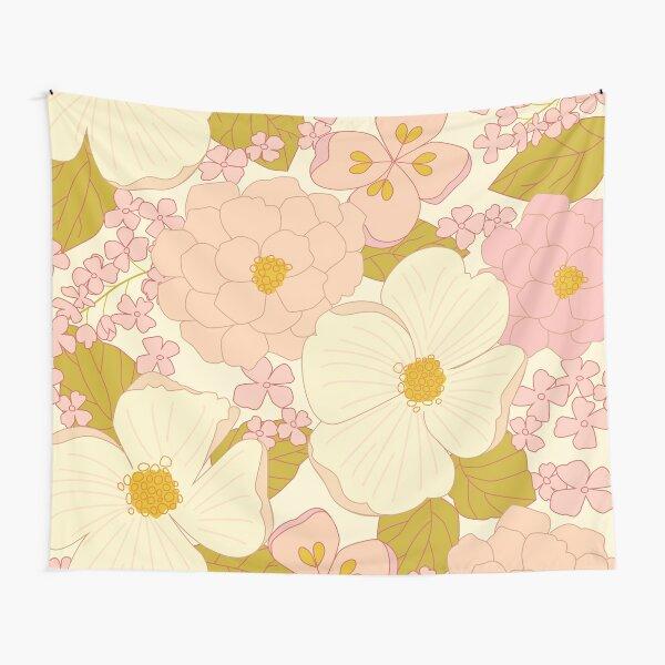 Pink Pastel Vintage Floral Pattern Tapestry