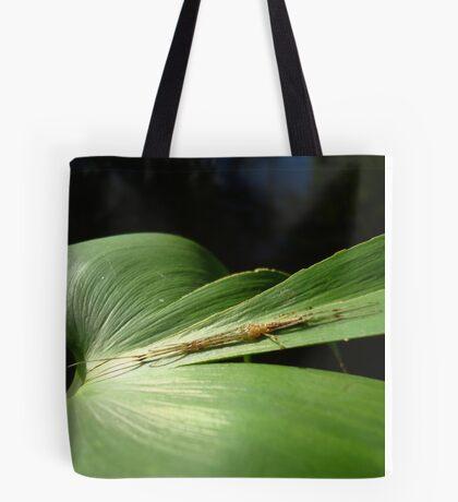 Long Jaw Orb Weaver on Pickerel Weed Tote Bag