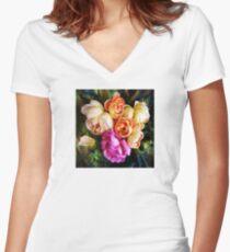 Blushing Roses Women's Fitted V-Neck T-Shirt