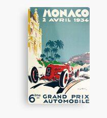 Rennplakat, Gran Prix de Monaco 1934, Vintages Plakat, Autoplakat Metallbild