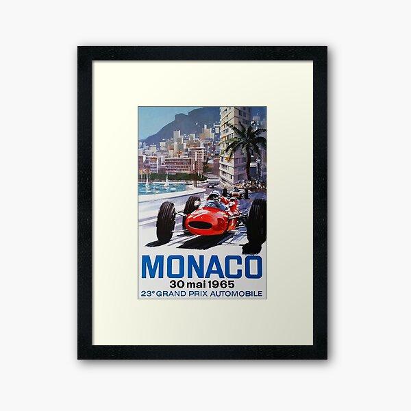 Rennplakat, T-Shirt, Gran Prix de Monaco, 1965, Vintages Plakat Gerahmter Kunstdruck