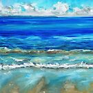 Calm beach with lapping waves by Avril E Jean