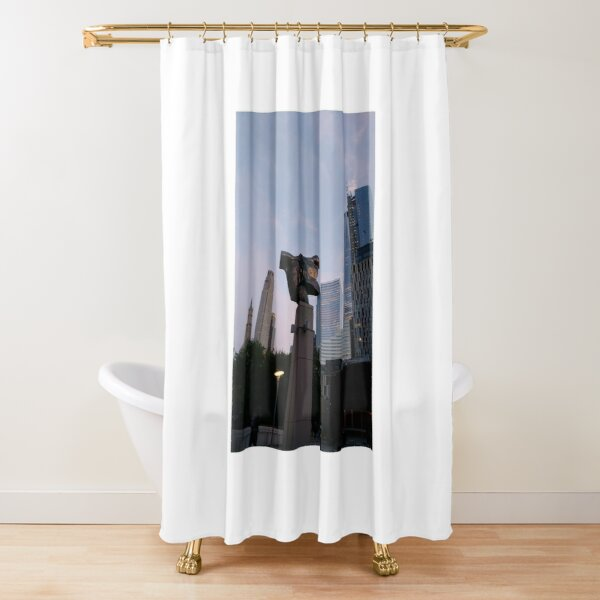 #Chambers, #Happiness, #Building, #Skyscraper, #NewYork, #Manhattan, #Street, #Pedestrians, #Cars, #Towers, #morning, #trees, #subway, #station, #Spring, #flowers, #Brooklyn  Shower Curtain