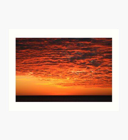 Orange Sunset over Lake Superior Art Print