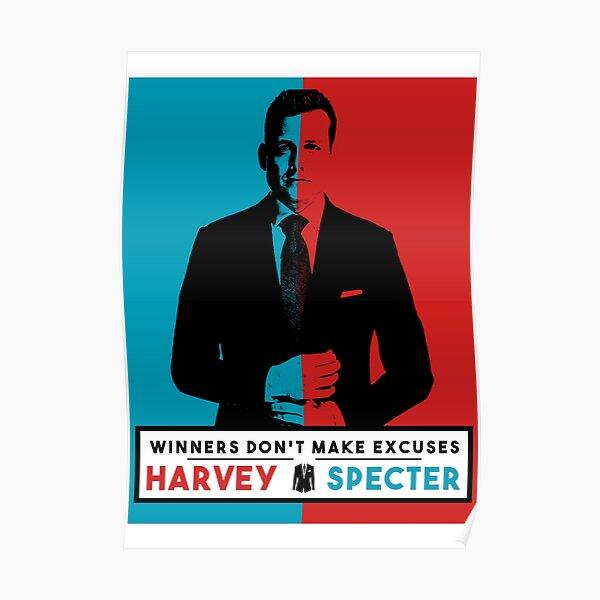 Les gagnants ne font pas d'excuses - Harvey Specter Quotes - Costumes Poster