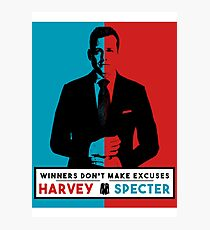 Winners don't make excuses - Harvey Specter Quotes - Suits  Photographic Print