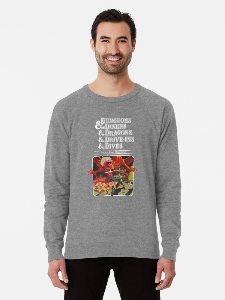 Alternate view of Dungeons & Diners & Dragons & Drive-Ins & Dives: Slightly Larger Image Lightweight Sweatshirt