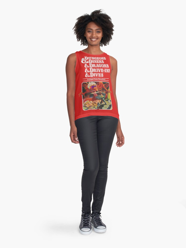 Alternate view of Dungeons & Diners & Dragons & Drive-Ins & Dives: Slightly Larger Image Sleeveless Top