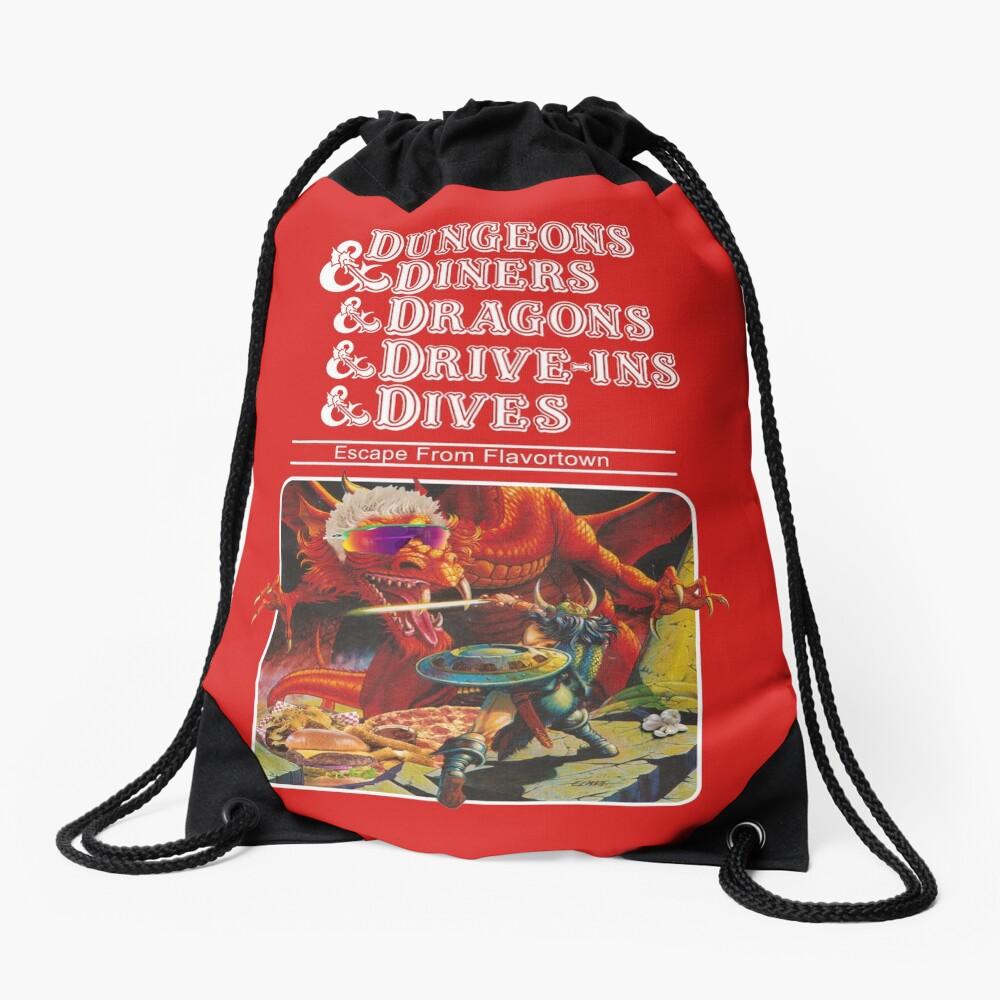 Dungeons & Diners & Dragons & Drive-Ins & Dives: Slightly Larger Image Drawstring Bag