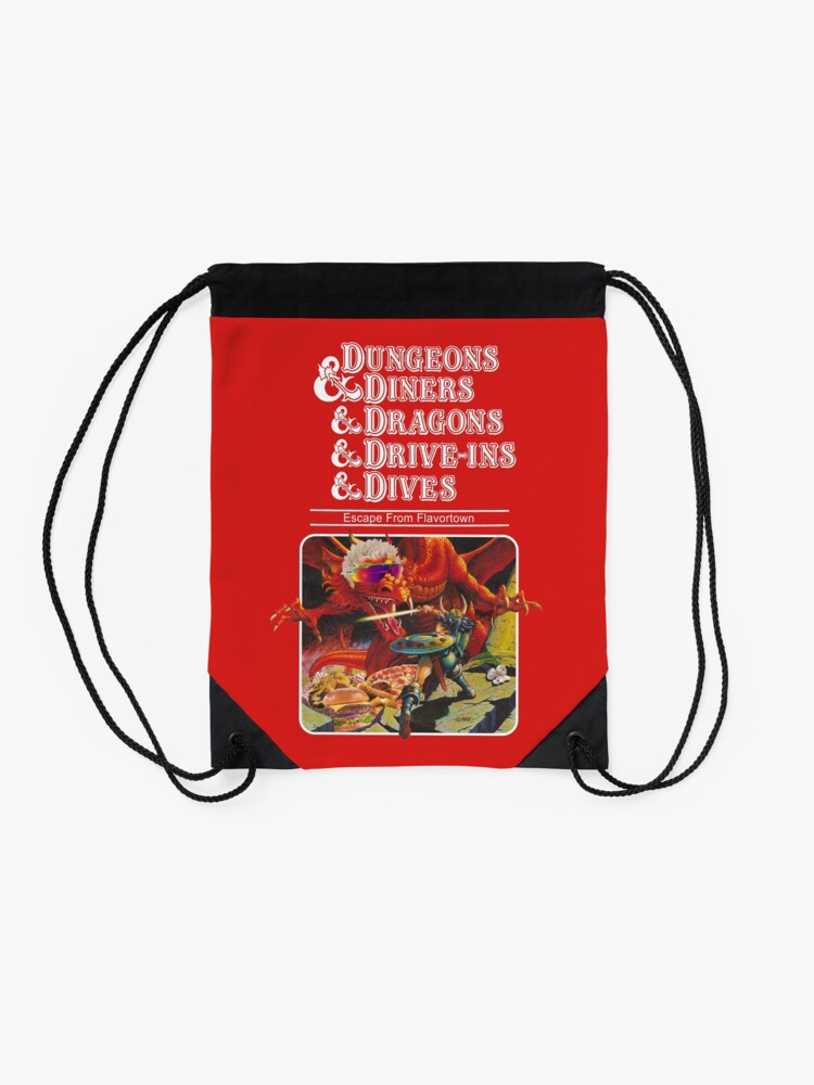 Alternate view of Dungeons & Diners & Dragons & Drive-Ins & Dives: Slightly Larger Image Drawstring Bag