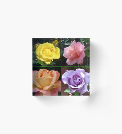 Rosen-Collage im gespiegelten Rahmen Acrylblock