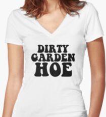 Dirty Garden Hoe Art Vegan Vegetarian Gluten Women's Fitted V-Neck T-Shirt