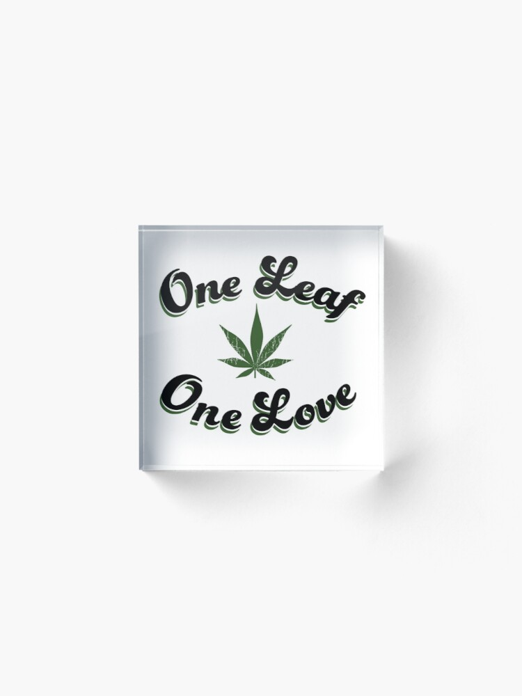 Alternate view of One Leaf One Love Acrylic Block