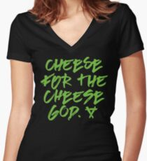 Cheese for the Cheese God Warhammer Age of Sigmar Blood Bowl Skaven Fitted V-Neck T-Shirt