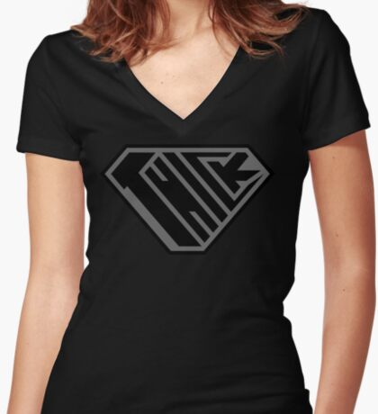 Thick SuperEmpowered (Black on Black) Fitted V-Neck T-Shirt