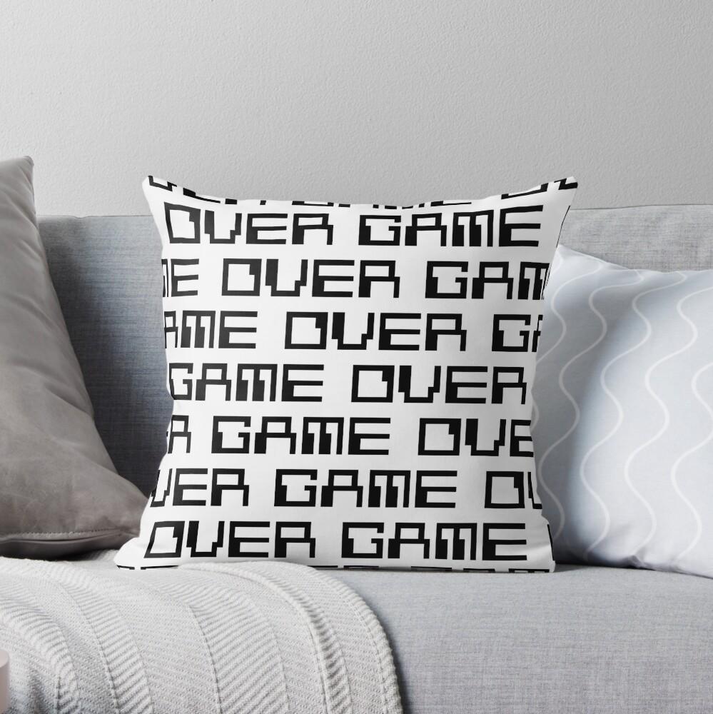 GAME OVER (black) Throw Pillow