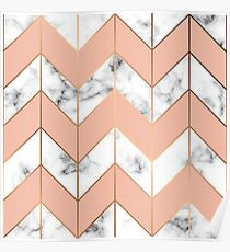 LUXE ROSE GOLD VECTOR ON BLACK AND WHITE MARBLE Poster
