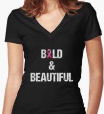 Brustkrebs-Hemd, kahles und schönes T-Shirt, Chemo Hemd Tailliertes T-Shirt mit V-Ausschnitt