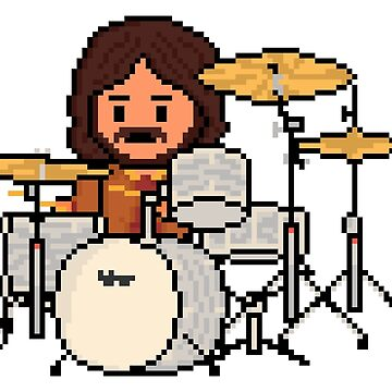 Rock Battle Old School Brit Pixel Classic Rock Drummer by gkillerb