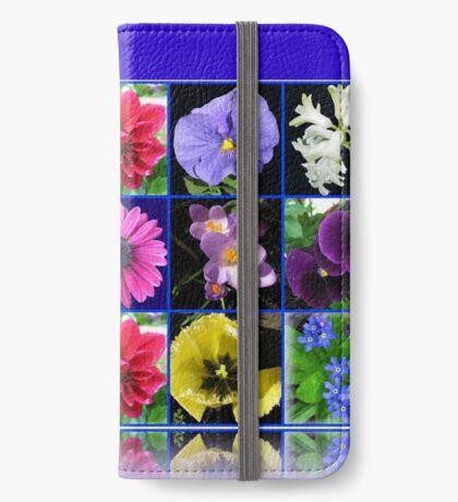 Voices of Spring - Floral Collage in Blue Reflection Frame iPhone Flip-Case