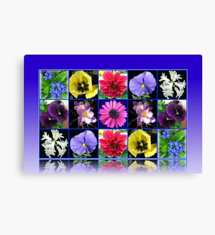 Voices of Spring - Floral Collage in Blue Reflection Frame Leinwanddruck