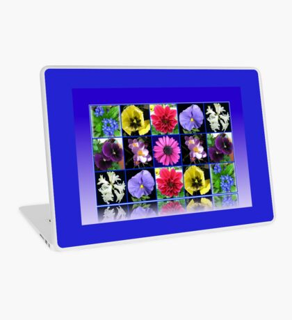 Voices of Spring - Floral Collage in Blue Reflection Frame Laptop Skin
