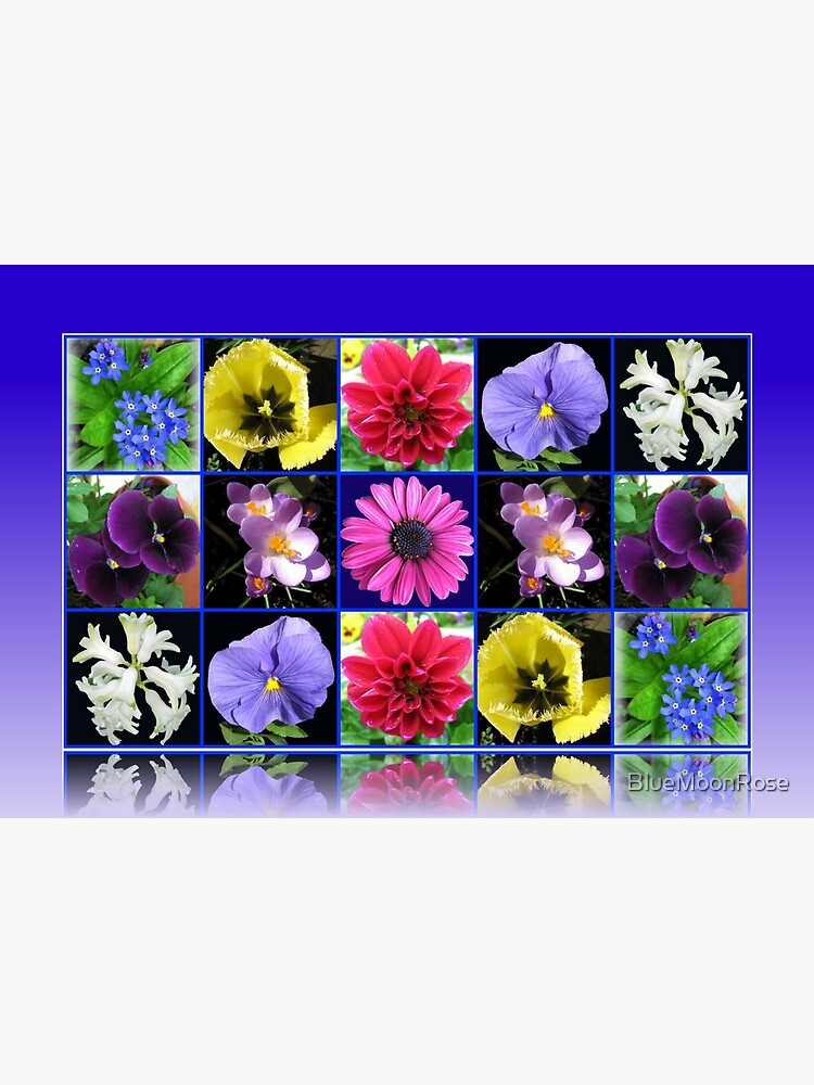 Voices of Spring - Floral Collage in Blue Reflection Frame von BlueMoonRose