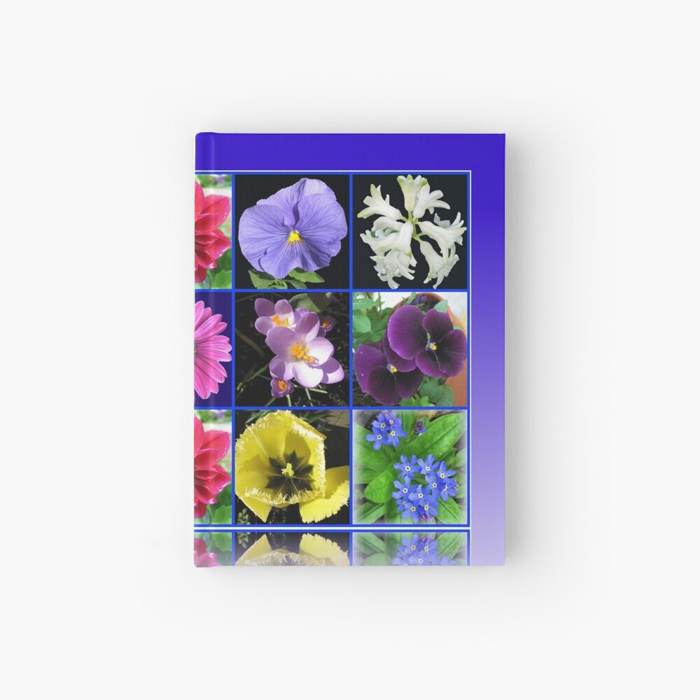 Voices of Spring - Floral Collage in Blue Reflection Frame Notizbuch