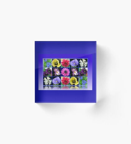 Voices of Spring - Floral Collage in Blue Reflection Frame Acrylblock