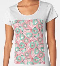 Abstract mauve pink green white sweet pattern Women's Premium T-Shirt
